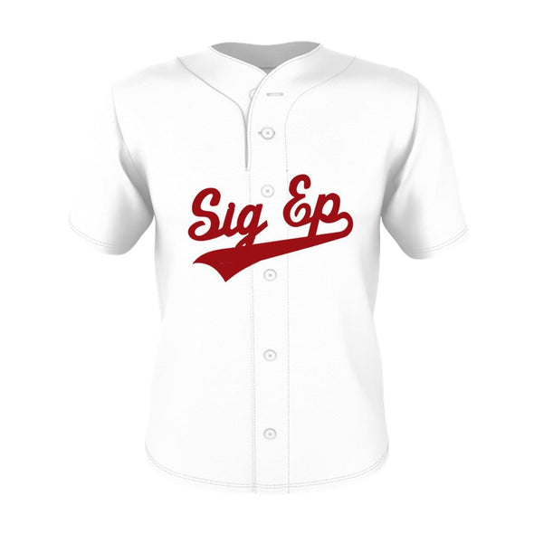 New! SigEp White Mesh Baseball Jersey