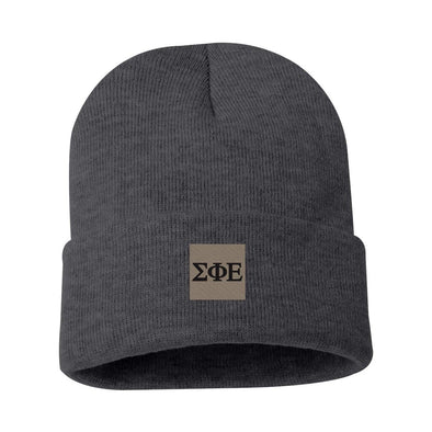 SigEp Charcoal Letter Beanie