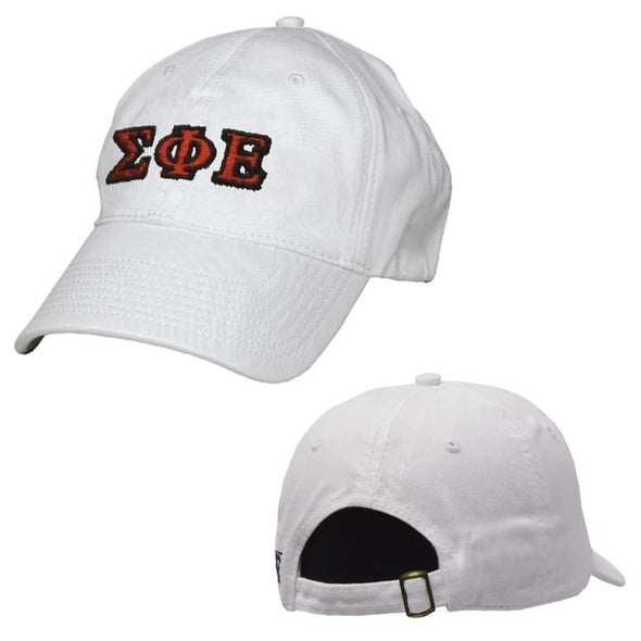 SigEp White Greek Letter Adjustable Hat