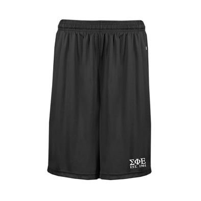 SigEp Black Pocketed Performance Shorts