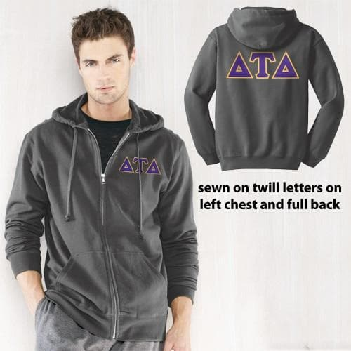 Clearance! Delt Charcoal Full-Zip Hoodie with Sewn On Letters