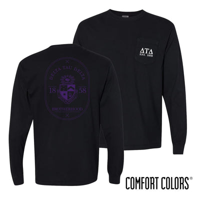 Delt Comfort Colors Black Badge Long Sleeve Pocket Tee
