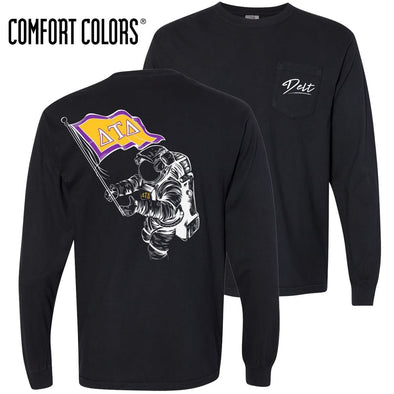 New! Delt Comfort Colors Black Astronaut Long Sleeve Pocket Tee