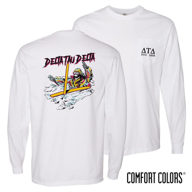 New! Delt Comfort Colors White Long Sleeve Ski-leton Tee