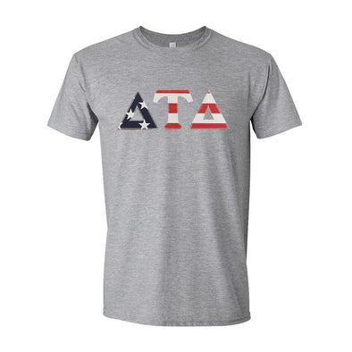 Delt Stars & Stripes Sewn On Letter Tee