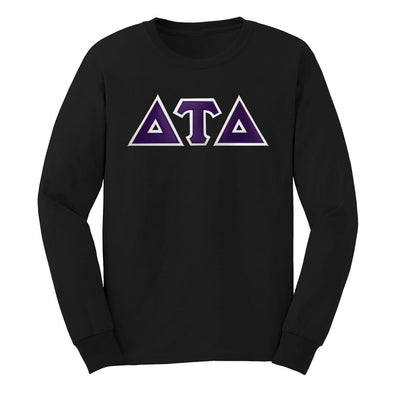 Sale! Delt Black Sim Stitch Letter Long Sleeve Tee
