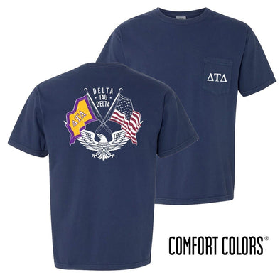 New! Delt Comfort Colors Short Sleeve Navy Patriot tee