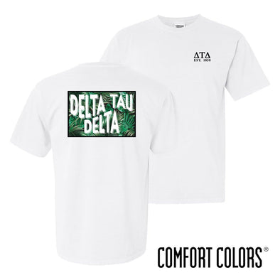 New! Delt Comfort Colors White Short Sleeve Jungle Tee