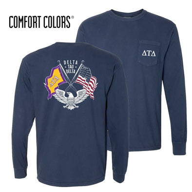 New! Delt Comfort Colors Long Sleeve Navy Patriot tee