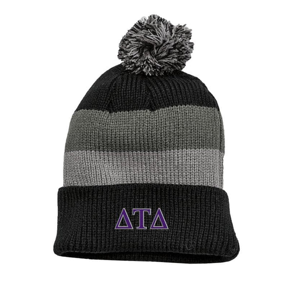 Delt Black & Gray Striped Knit Beanie with Removable Pom