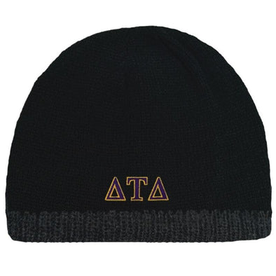 Sale! Delt Black Knit Beanie with Fleece Lining