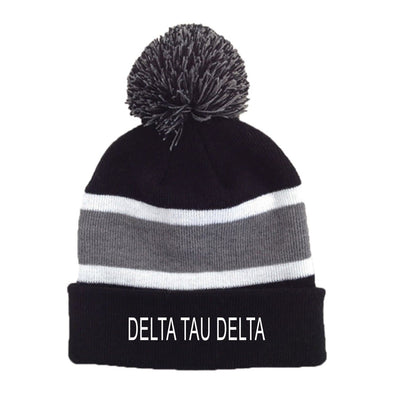Delt Striped Pom Beanie