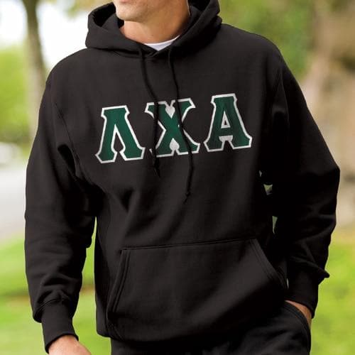 Lambda Chi Black Hoodie with Sewn On Letters
