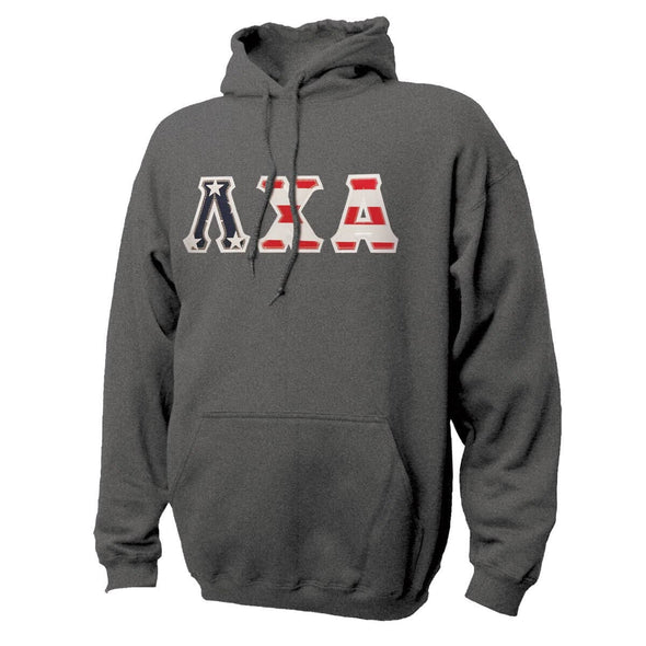 Lambda Chi Stars & Stripes Sewn On Letter Hoodie