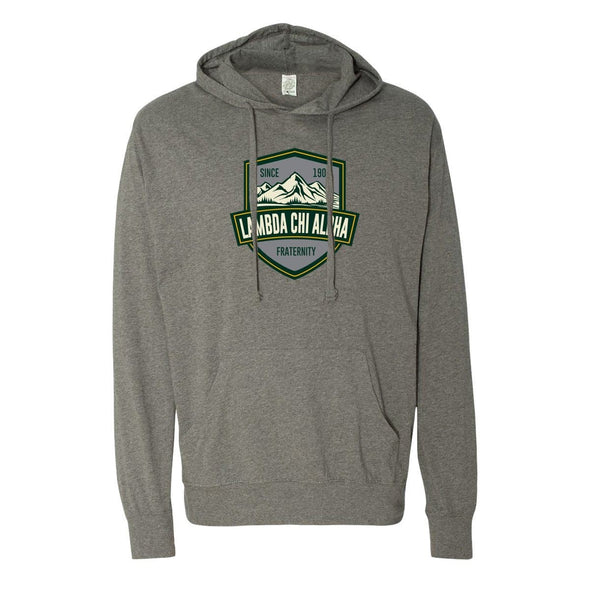 Clearance!  Lambda Chi Lightweight Mountain T-Shirt Hoodie