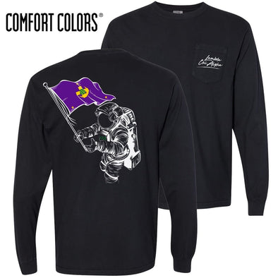 Lambda Chi Comfort Colors Black Astronaut Long Sleeve Pocket Tee