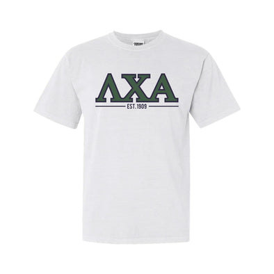 Lambda Chi White Comfort Colors Greek Letter Tee