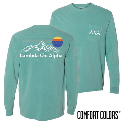 New! Lambda Chi Retro Mountain Comfort Colors Tee