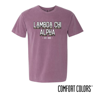 Lambda Chi Comfort Colors Short Sleeve Berry Retro Tee
