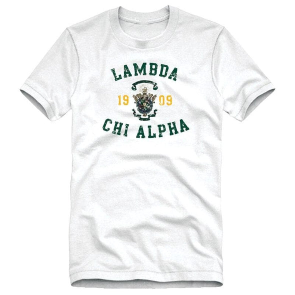 Lambda Chi White Distressed Crest Tee