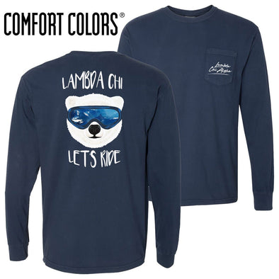 New! Lambda Chi Comfort Colors Navy Let's Ride Long Sleeve Pocket Tee