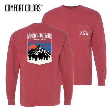 New! Lambda Chi Comfort Colors Long Sleeve Retro Alpine Tee