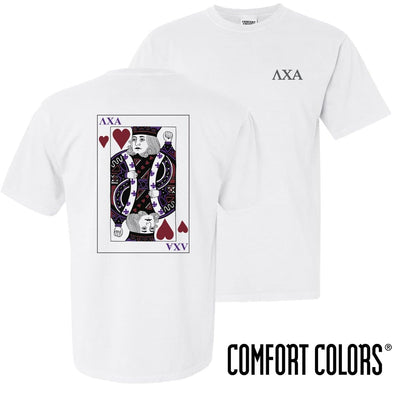 New! Lambda Chi Comfort Colors White King of Hearts Short Sleeve Tee