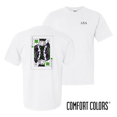 New! Lambda Chi Comfort Colors White Short Sleeve Clover Tee
