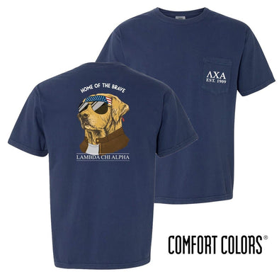 New! Lambda Chi Comfort Colors Short Sleeve Navy Patriot Retriever Tee