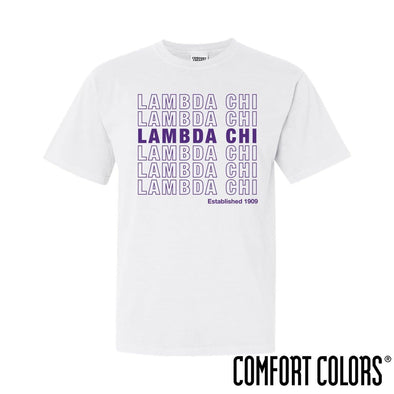 New! Lambda Chi Comfort Colors White Thank You Bag Tee