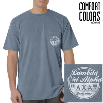 Lambda Chi Vintage Blue Comfort Colors Pocket Tee