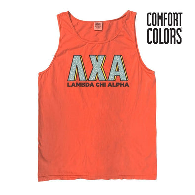 Lambda Chi Bright Salmon Retro Comfort Colors Tank