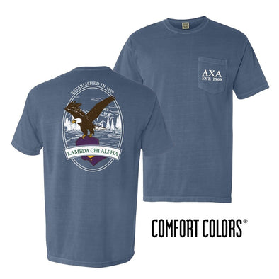 Lambda Chi Vintage Blue Comfort Colors Eagle Tee