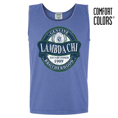 Lambda Chi Faded Blue Comfort Colors Tank