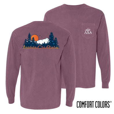 New! Lambda Chi Comfort Colors Berry Retro Wilderness Long Sleeve Pocket Tee