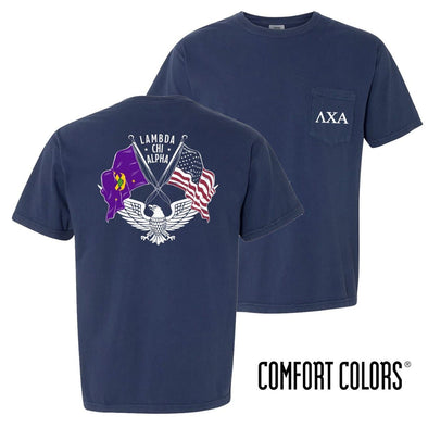 New! Lambda Chi Comfort Colors Short Sleeve Navy Patriot tee