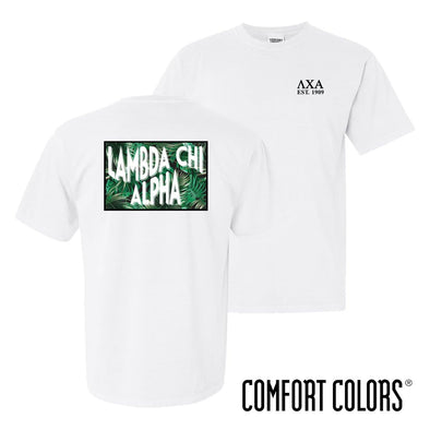 Lambda Chi Comfort Colors White Short Sleeve Jungle Tee