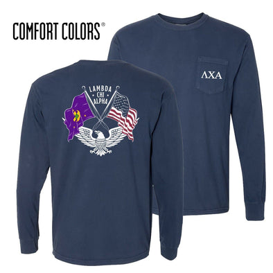 Lambda Chi Comfort Colors Long Sleeve Navy Patriot tee