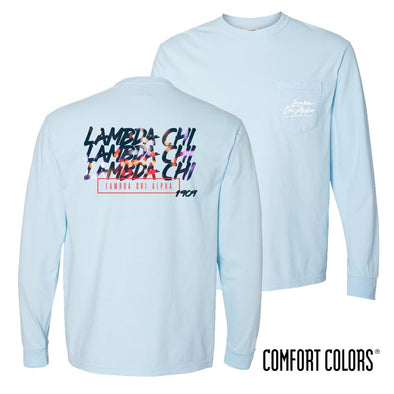 Lambda Chi Comfort Colors Chambray Long Sleeve Urban Tee