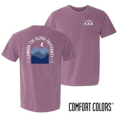 New! Lambda Chi Comfort Colors Short Sleeve Berry Exploration Tee
