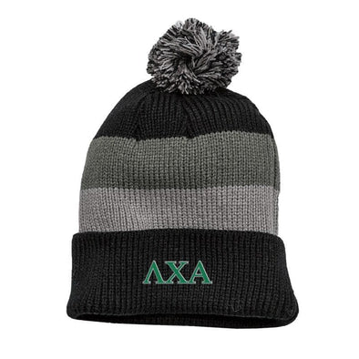 Lambda Chi Black & Gray Striped Knit Beanie with Removable Pom