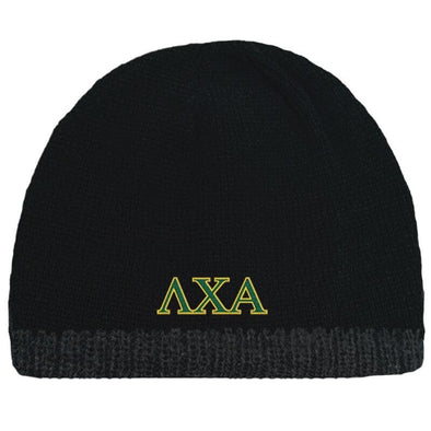 Sale! Lambda Chi Black Knit Beanie with Fleece Lining