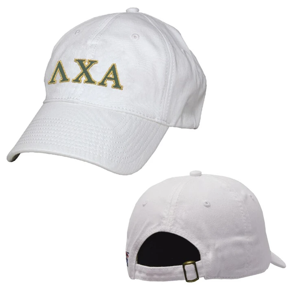 Lambda Chi White Greek Letter Adjustable Hat