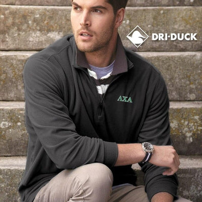 Clearance Priced! Lambda Chi Dri Duck Charcoal 1/4 Zip Fleece Pullover