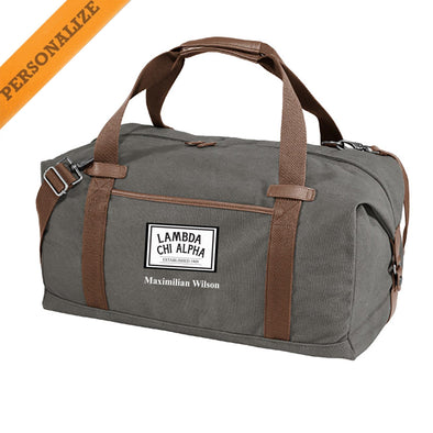Lambda Chi Personalized Gray Canvas Duffel