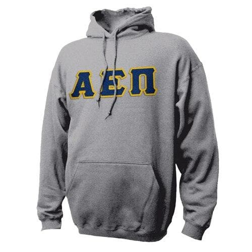 AEPi Heather Gray Hoodie with Sewn On Letters
