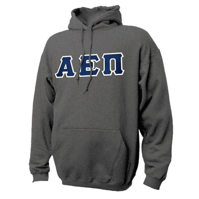 AEPi Dark Heather Hoodie with Sewn On Letters