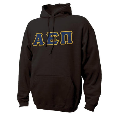 AEPi Black Hoodie with Sewn On Greek Letters