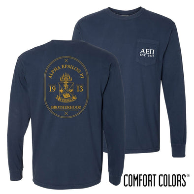 AEPi Comfort Colors Navy Badge Long Sleeve Pocket Tee