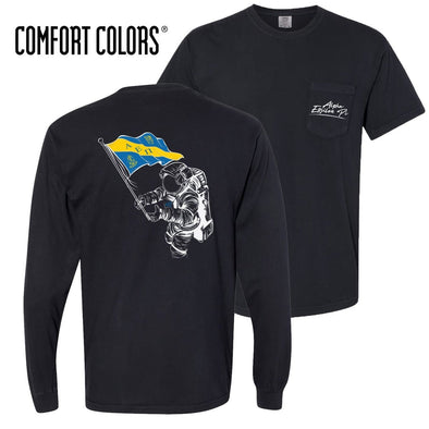 AEPi Comfort Colors Black Astronaut Pocket Tee